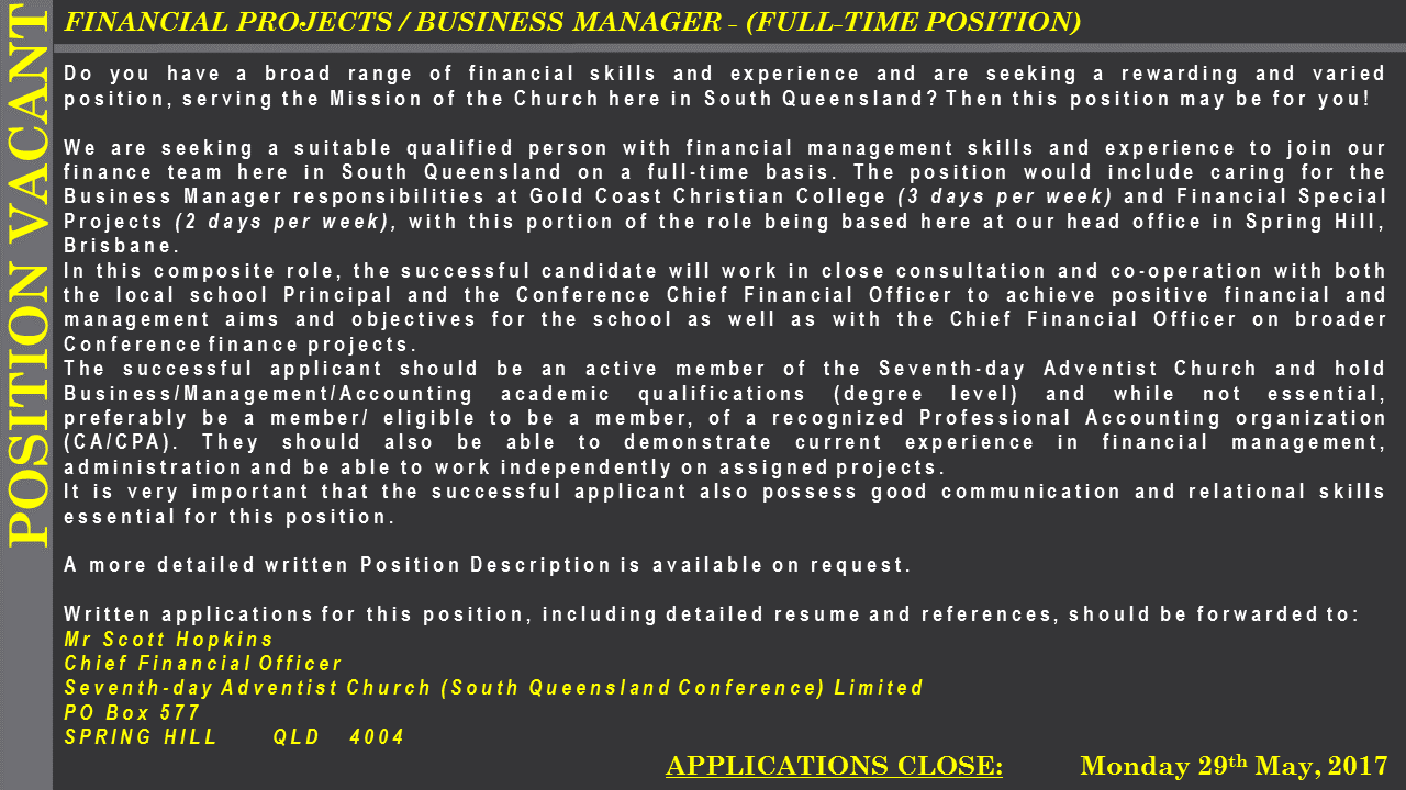 Position Vacant Advert Business Manager GCCC - May 2017