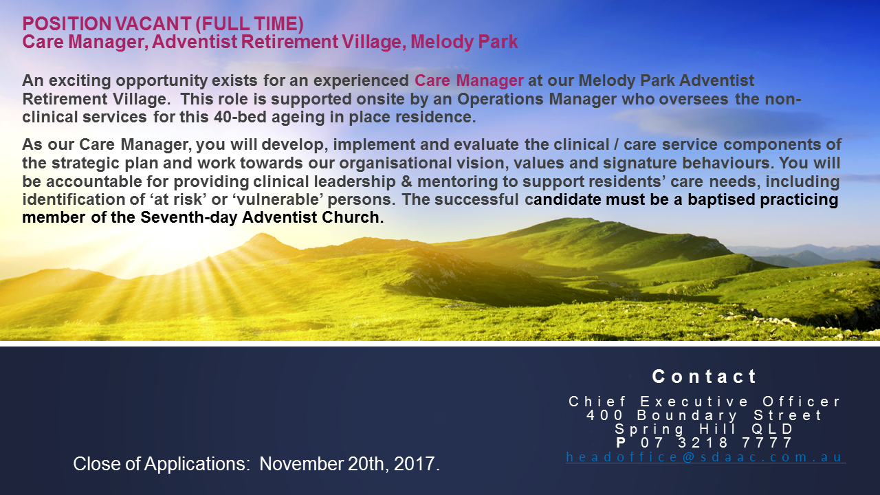 Position Vacant - Melody Park Care Manager